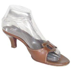 Ferragamo Vintage Brown Leather Mule Sandals